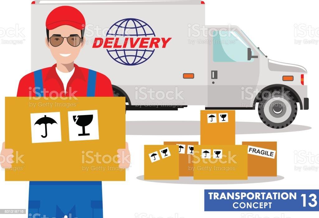 Concepto de transporte. Ilustración detallada del camión y el conductor, repartidor mantenga la caja en fondo blanco en estilo plano. Ilustración de vector - ilustración de arte vectorial