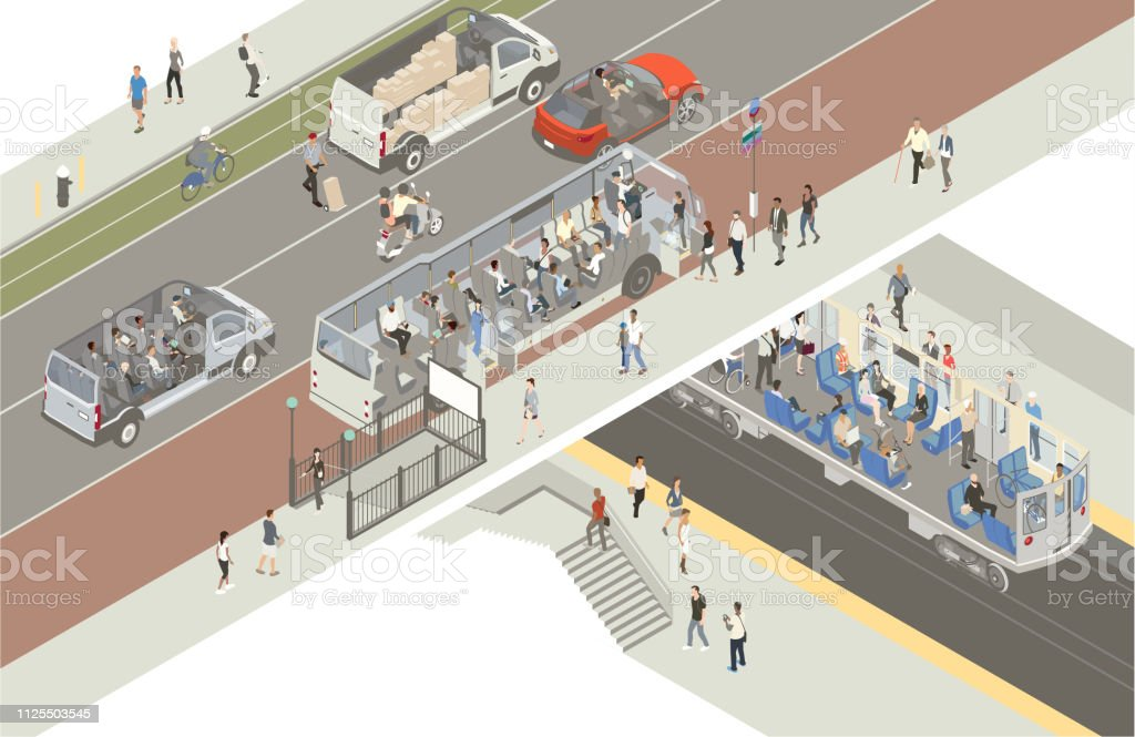 Transportation cutaway vector art illustration