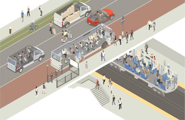 Transportation cutaway vector art illustration