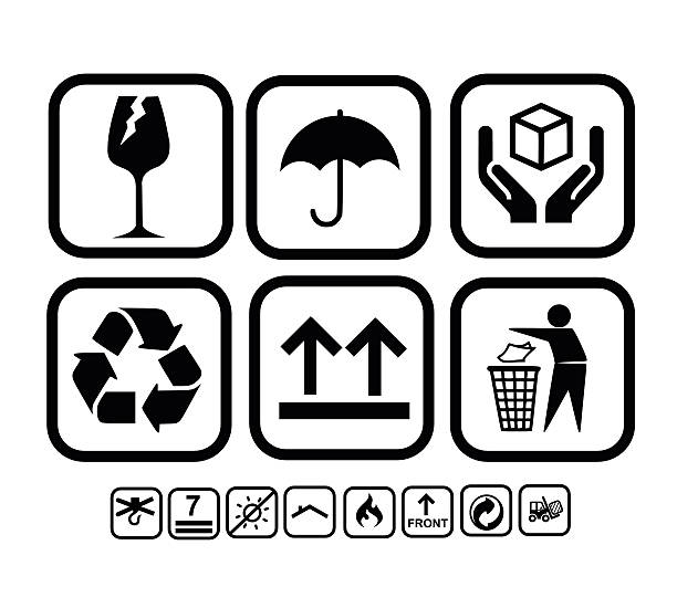 Transportation, delivery icon set vector illustration Transportation, delivery icon set vector illustration fragility stock illustrations