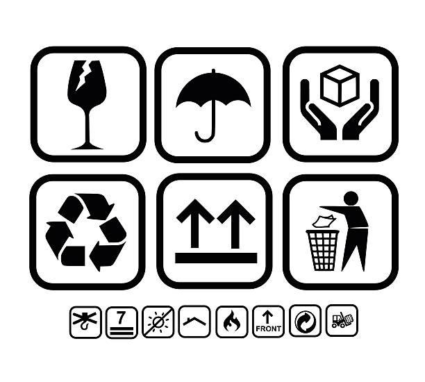 stockillustraties, clipart, cartoons en iconen met transportation, delivery icon set vector illustration - breekbaarheid