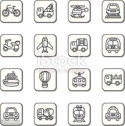 A collection of different kinds of transportation doodle icons. It contains hi-res JPG, PDF and Illustrator 9 files.