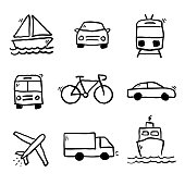 Vector transportation doodle drawings collection