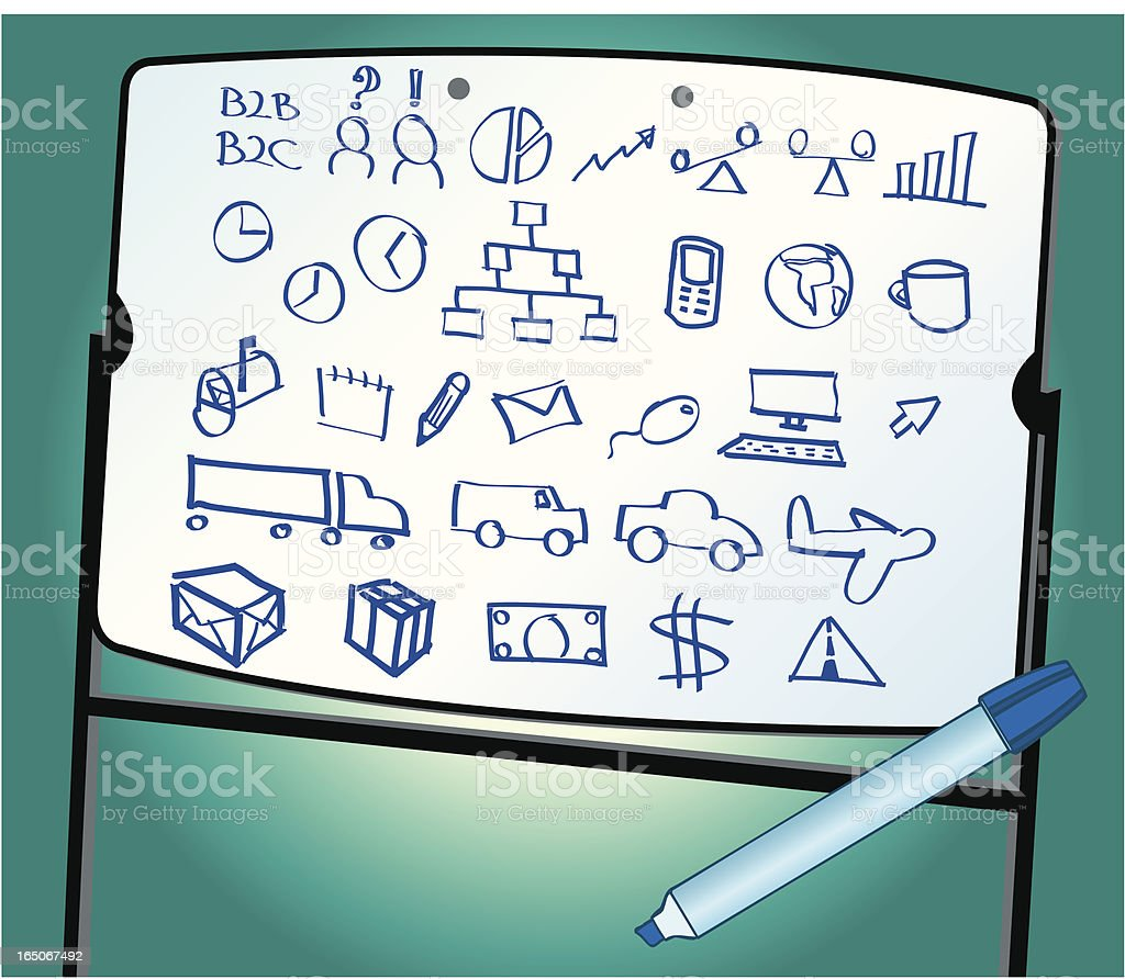 Transportation Doodles on White Board - Business Logistics royalty-free transportation doodles on white board business logistics stock vector art & more images of air vehicle