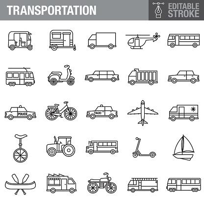 Transportation Editable Stroke Icon Set
