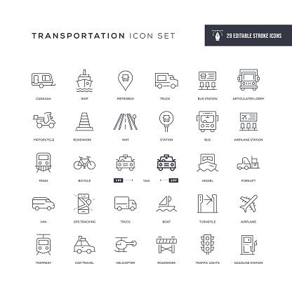 Transportation Editable Stroke Line Icons