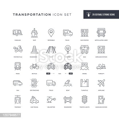 29 Transportation Icons - Editable Stroke - Easy to edit and customize - You can easily customize the stroke with