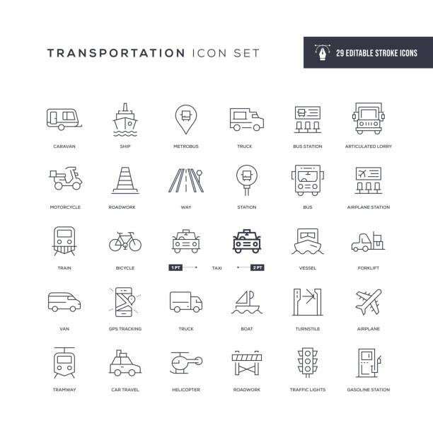 illustrazioni stock, clip art, cartoni animati e icone di tendenza di transportation editable stroke line icons - automotive