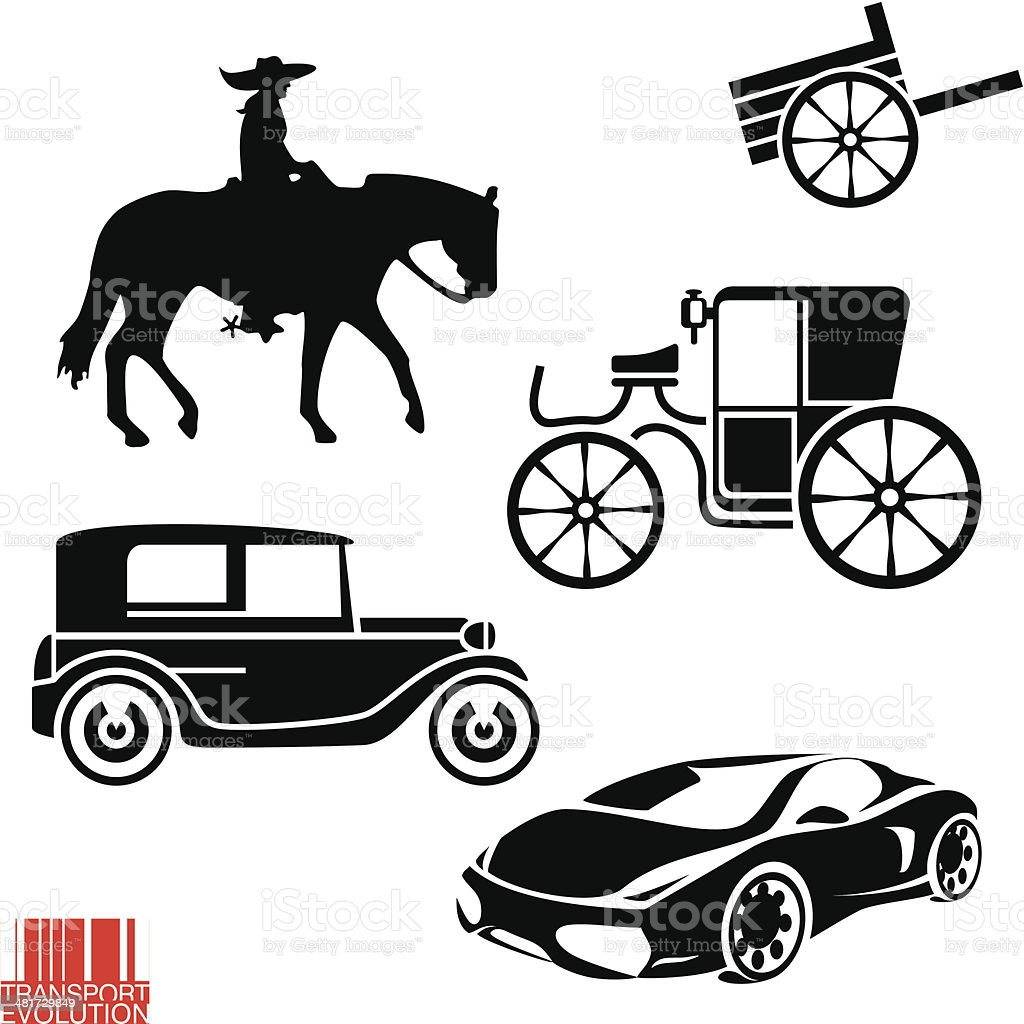 Transportation evolution vector art illustration