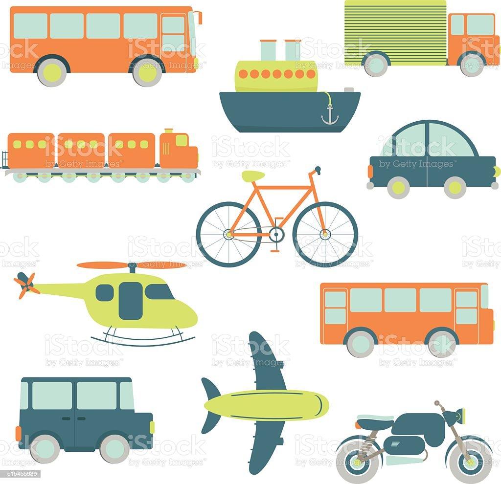 Transportation facilities vector art illustration