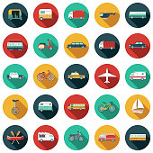A set of flat design styled transportation icons with a long side shadow. Color swatches are global so it's easy to edit and change the colors. File is built in the CMYK color space for optimal printing.