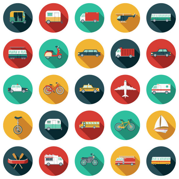 illustrazioni stock, clip art, cartoni animati e icone di tendenza di transportation flat design icon set - automotive