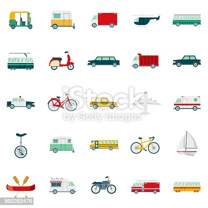 A set of 25 transportation and vehicles flat design icons on a transparent background. File is built in the CMYK color space for optimal printing. Color swatches are Global for quick and easy color changes.