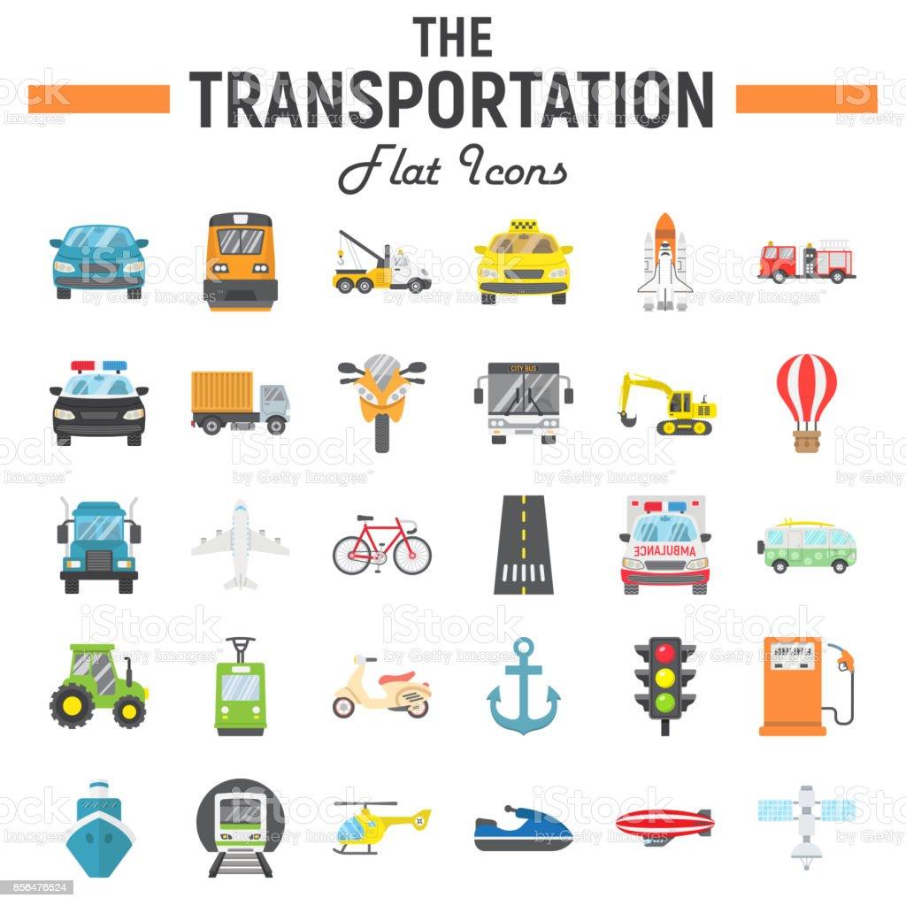 Transportation Flat Icon Set Transport Symbols Collection Vehicle