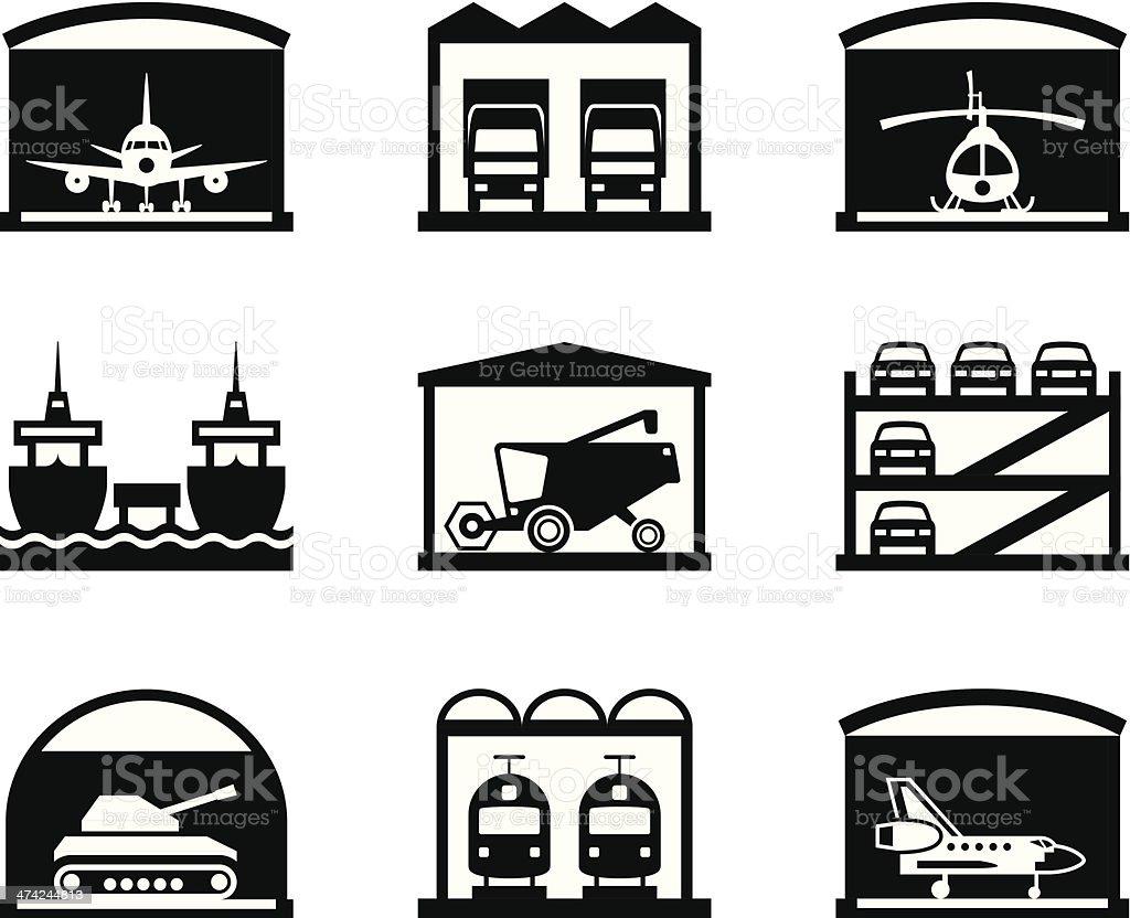 Transportation garages and warehouses vector art illustration
