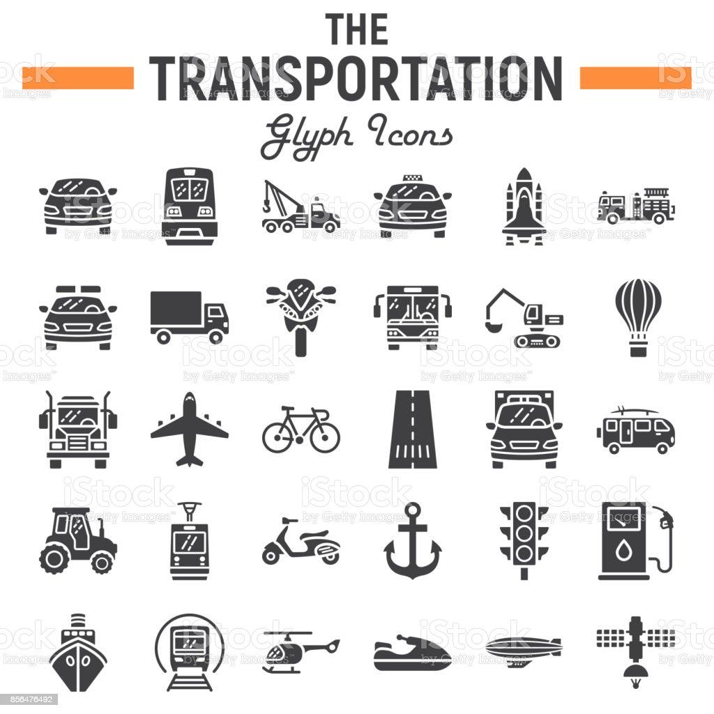 Transportation Glyph Icon Set Transport Symbols Collection Vehicle - Car signs and symbols