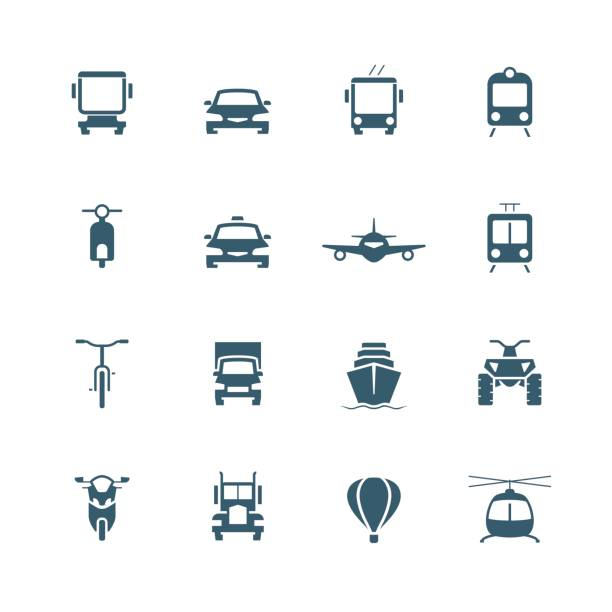Transportation icon set, front view Transportation icon set, front view quadbike stock illustrations