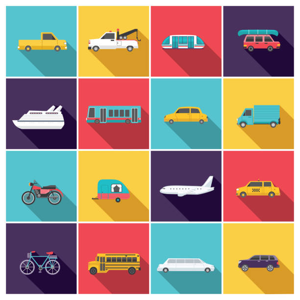 Transportation Icon Set In Flat Design Style Transportation Icon Set In Flat Design Style. Simple, easy to edit. Bright bold colors. van vehicle stock illustrations
