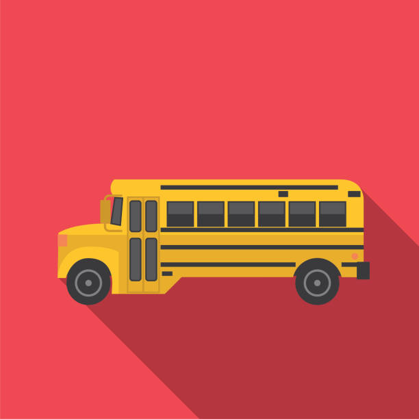 illustrations, cliparts, dessins animés et icônes de transport icon set dans un style design plat - bus scolaires