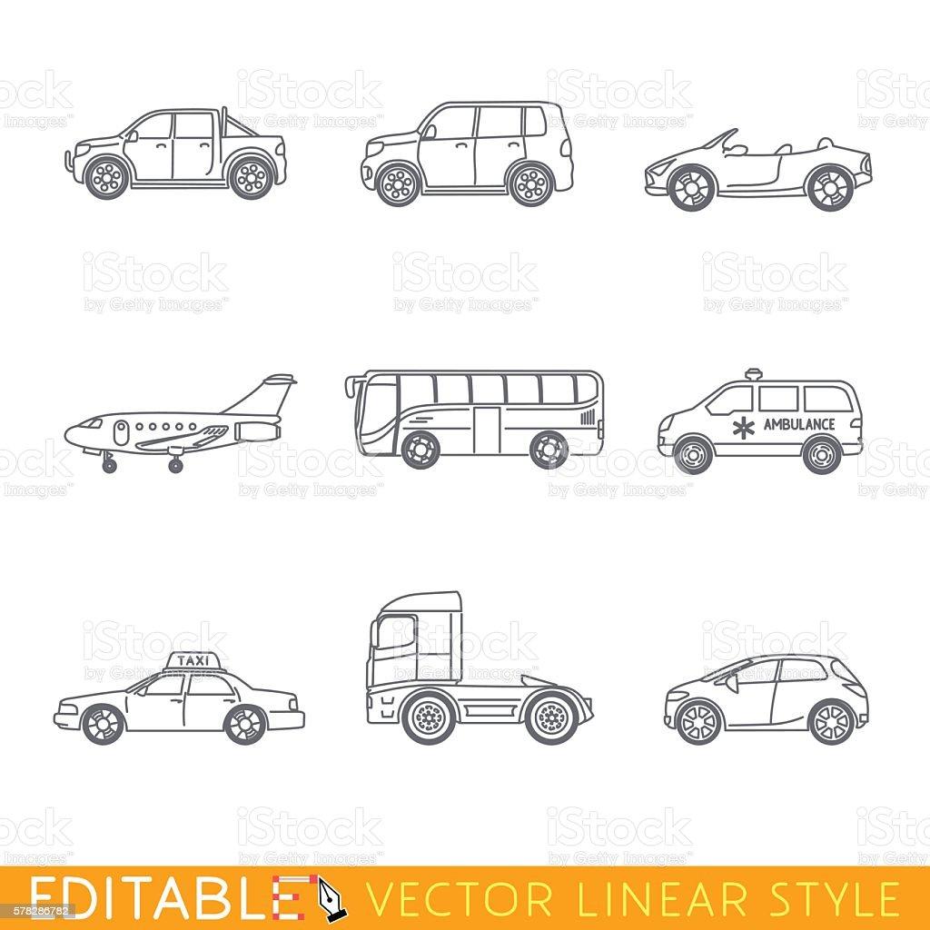 Transportation icon set include Ambulance Semi truck Taxi Business jet
