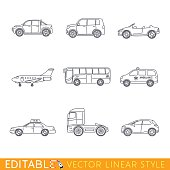 Transportation icon set include Ambulance Semi truck Taxi Business jet