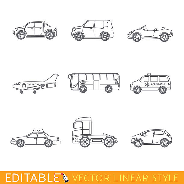 transportation icon set include ambulance semi truck taxi business jet - cabrio stock-grafiken, -clipart, -cartoons und -symbole