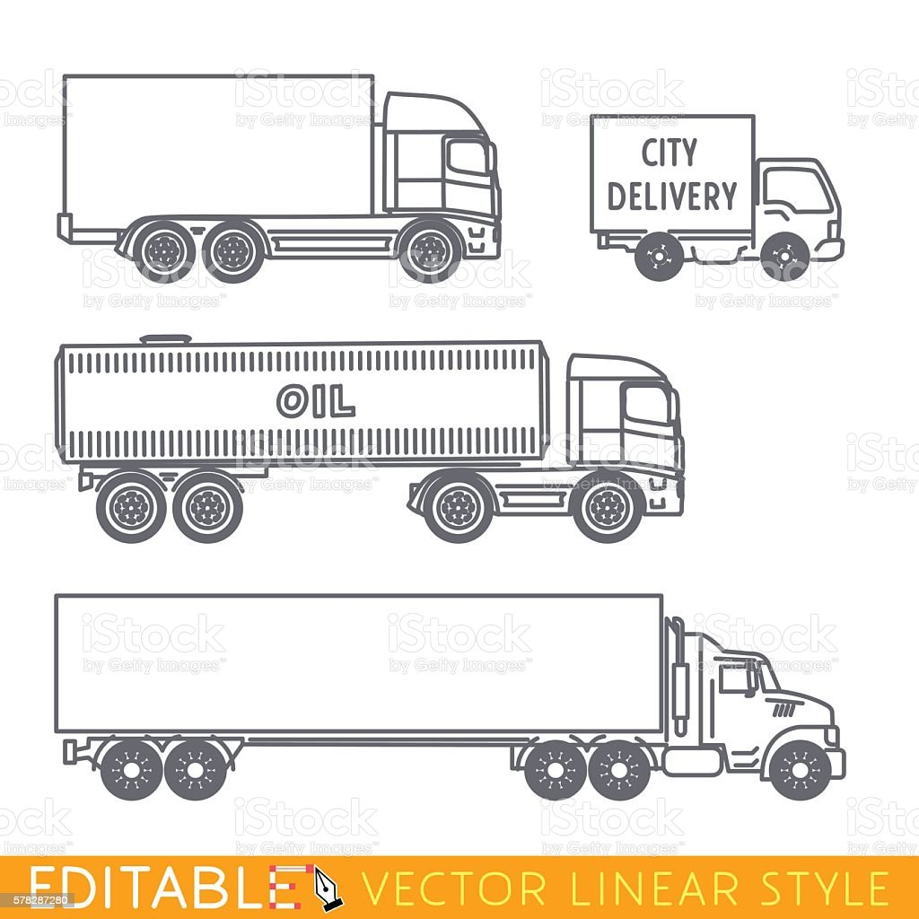 Transportation icon set include Long semi truck Road tanker City vector art illustration