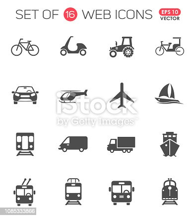 Transportation icon set. Transport web icons for your creative project