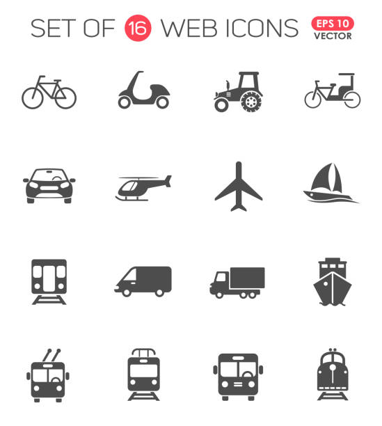 illustrazioni stock, clip art, cartoni animati e icone di tendenza di transportation icon set. transport web icons for your creative project - infrastrutture