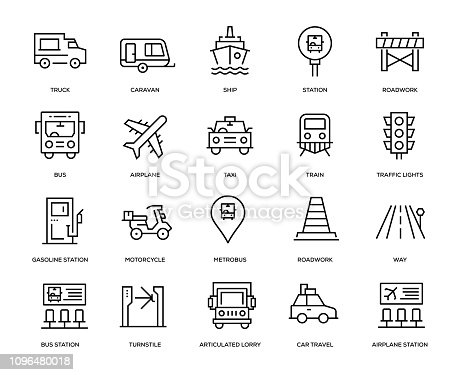 Transportation Icon Set - Thin Line Series