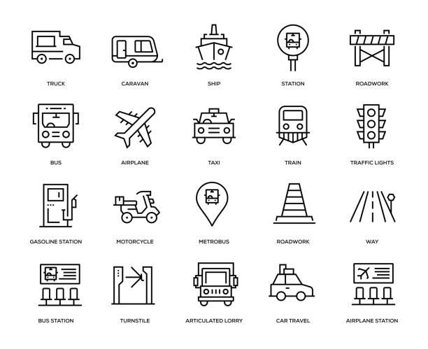 stockillustraties, clipart, cartoons en iconen met vervoer icon set - caravan