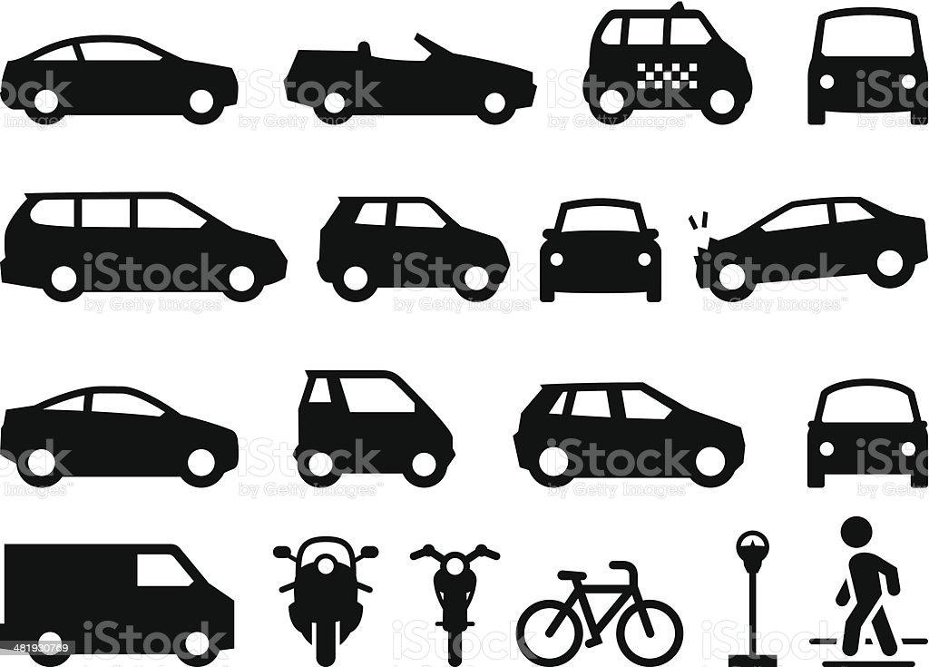 Transportation Icons - Black Series vector art illustration