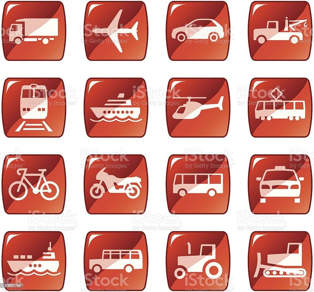 Transportation icons / buttons. Red glossy series royalty-free transportation icons buttons red glossy series stock vector art & more images of air vehicle