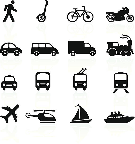 Transportation icons design elements http://www.bannerimage.com/istock/a_bw.gif van vehicle stock illustrations