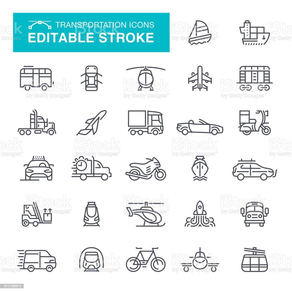 Transportation Icons Editable Stroke