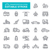 Transportation Icons Editable Stroke