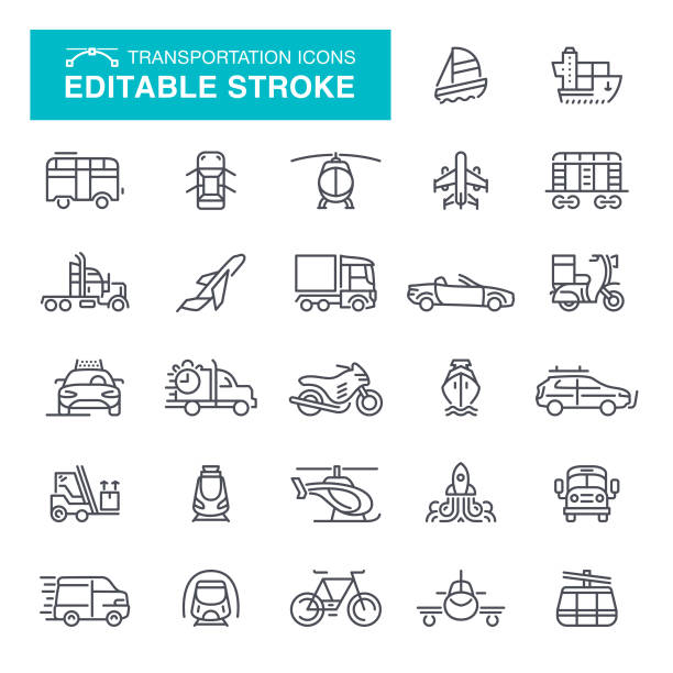 Transportation Icons Editable Stroke vector art illustration