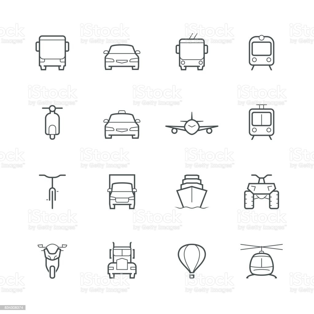 Transportation icons in thin line style, front view vector art illustration