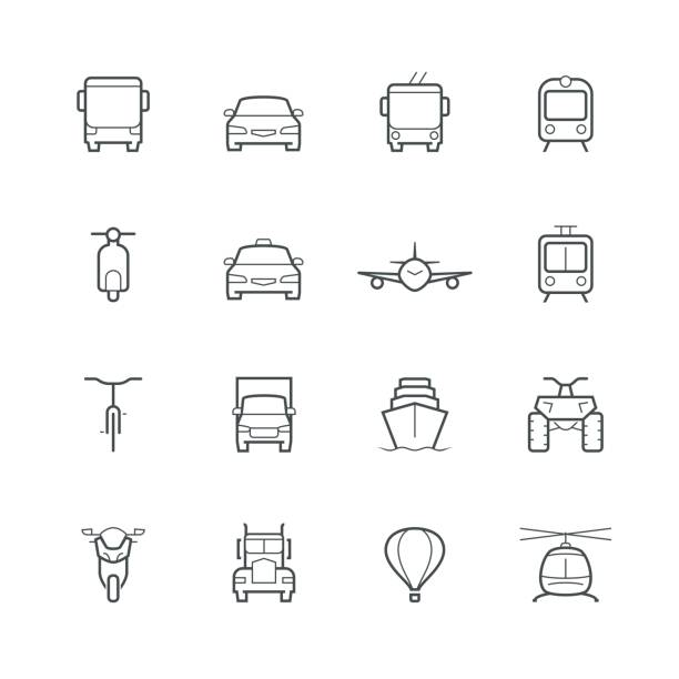 Transportation icons in thin line style, front view Transportation icons in thin line style, front view quadbike stock illustrations