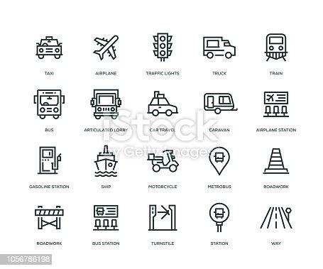 Transportation Icons - Line Series