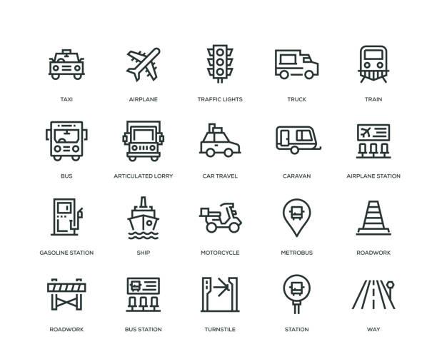 stockillustraties, clipart, cartoons en iconen met vervoer icons - line serie - caravan