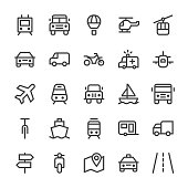 Transportation Icons - MediumX Line Vector EPS File.