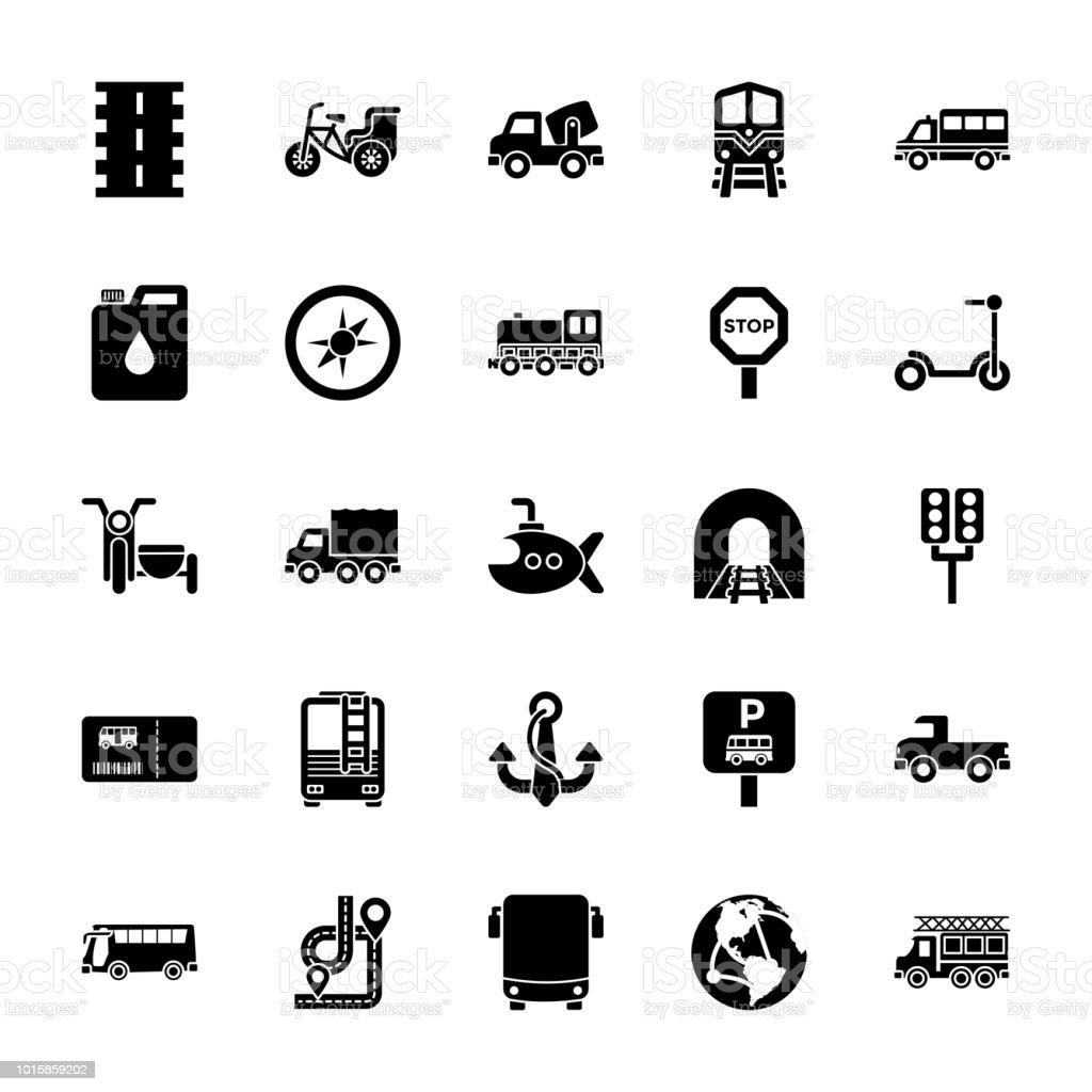 Transportation Icons Pack vector art illustration
