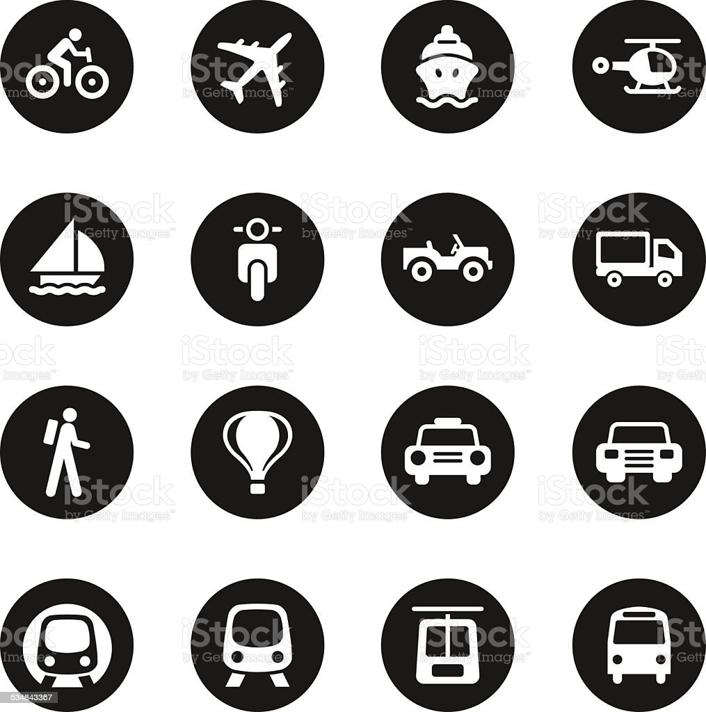Transportation Icons Set 1 - Black Circle Series vector art illustration