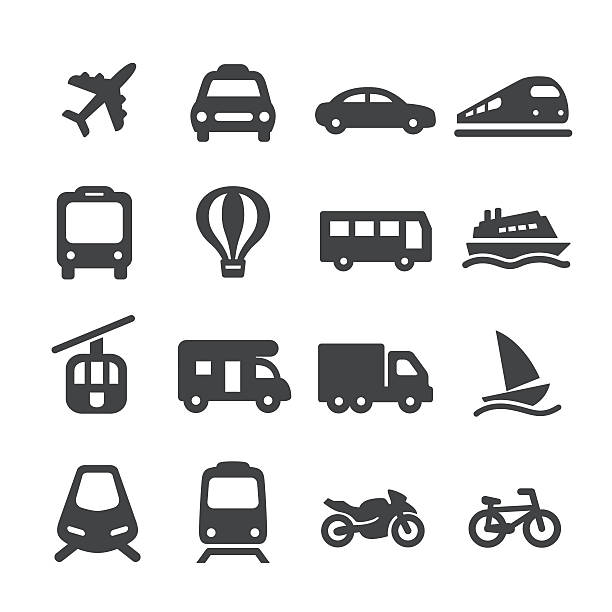 stockillustraties, clipart, cartoons en iconen met transportation icons set - acme series - trein