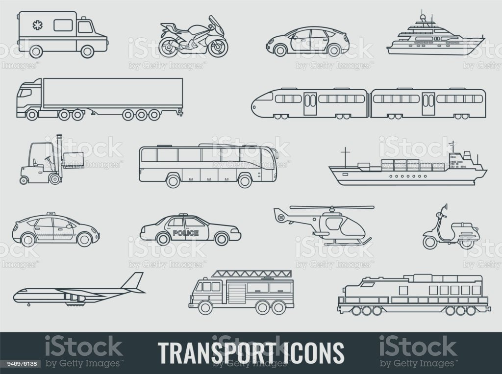 Transportation Icons Set City Cars And Vehicles Transport Car Ship ...