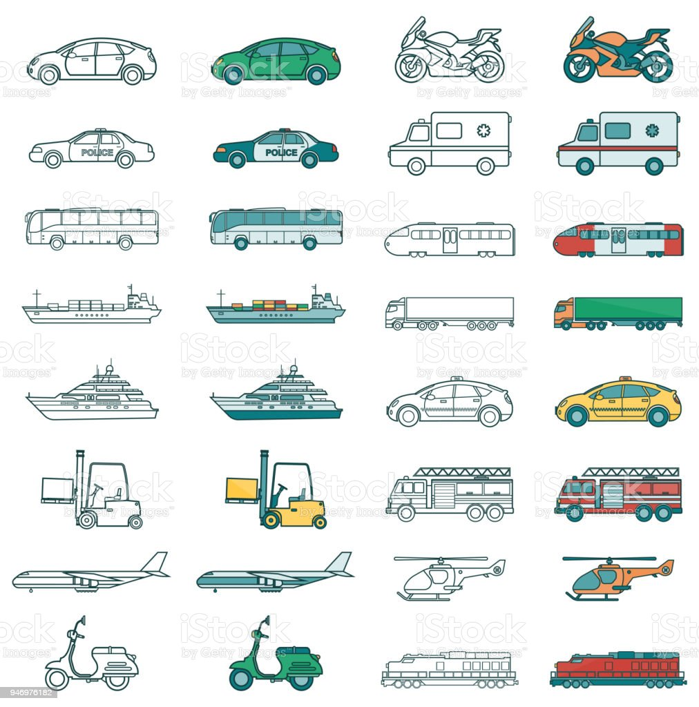 Transportsymbole Festgelegt Autos Und Fahrzeuge Stadtverkehr Auto ...
