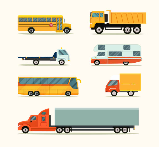 Transportation icons set. Vector flat style illustration vector art illustration