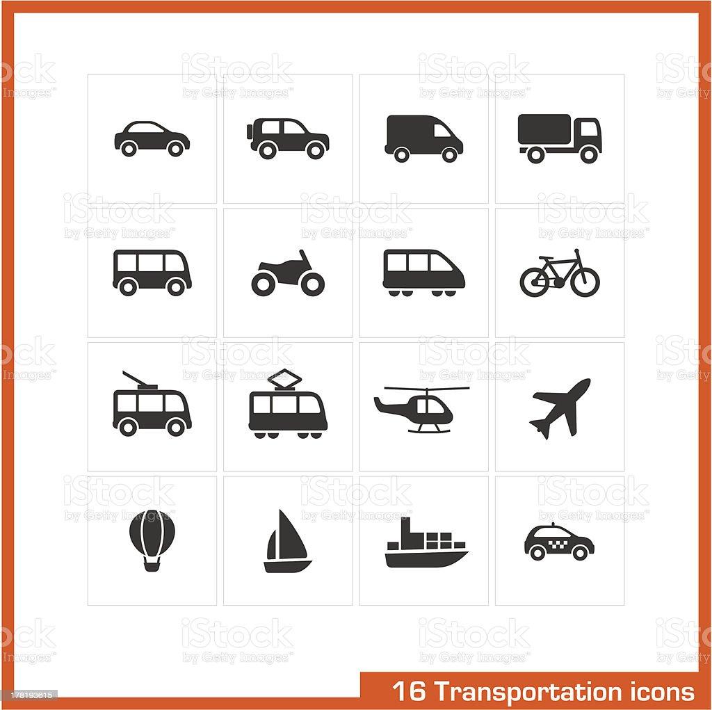 Transportation icons set. vector art illustration