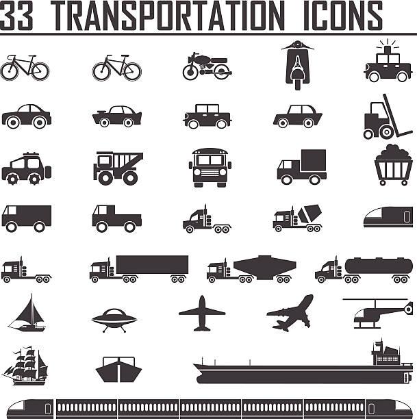illustrazioni stock, clip art, cartoni animati e icone di tendenza di 33 set di icone di trasporto - subway